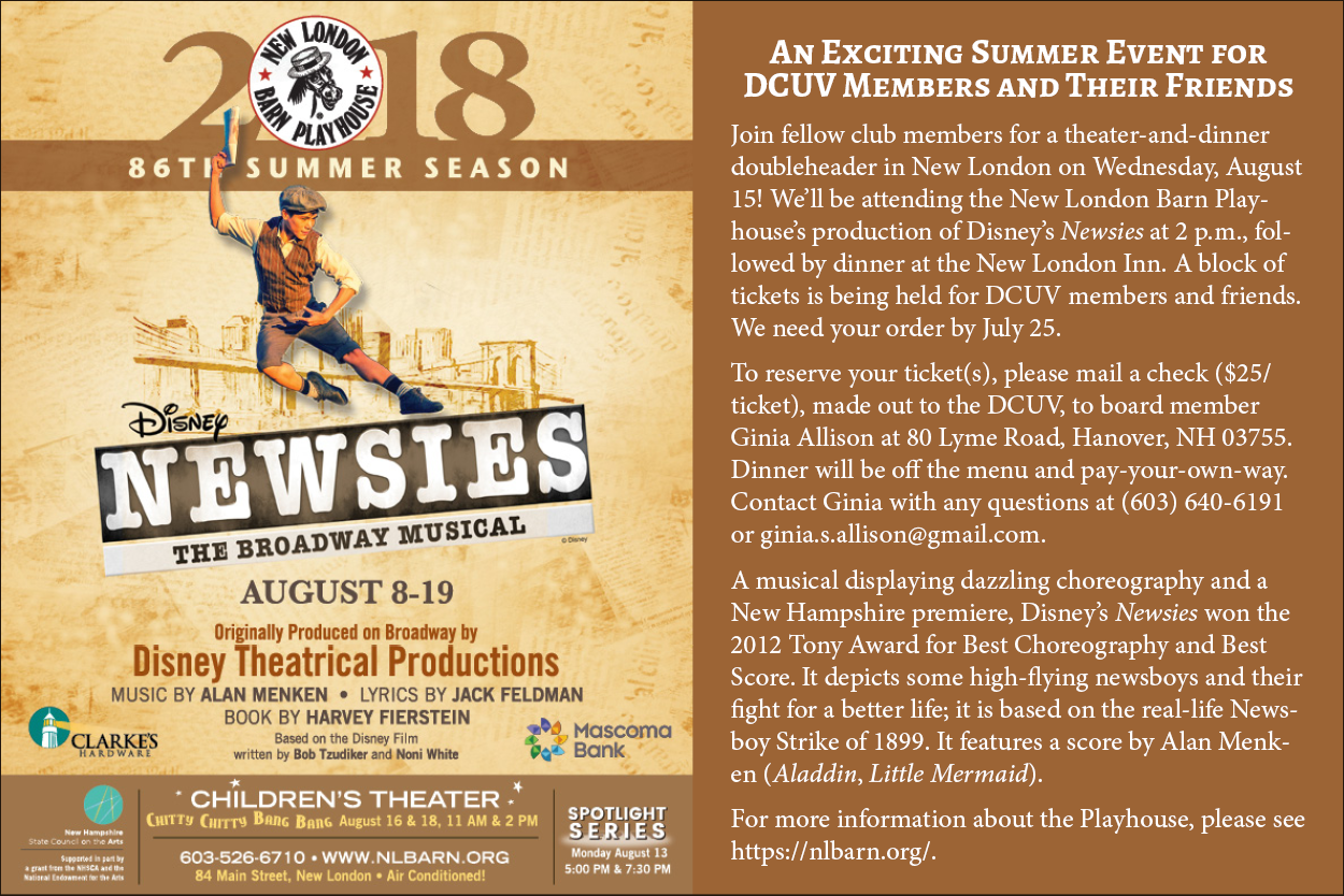 Poster for DCUV 2018 summer trip to see Newsies at the New London Barn Playhouse