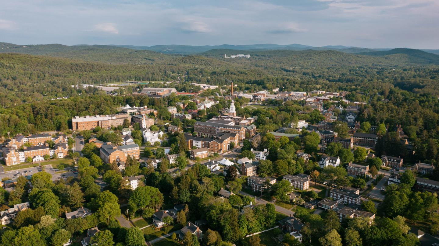 Aerial photo of the Dartmouth campus